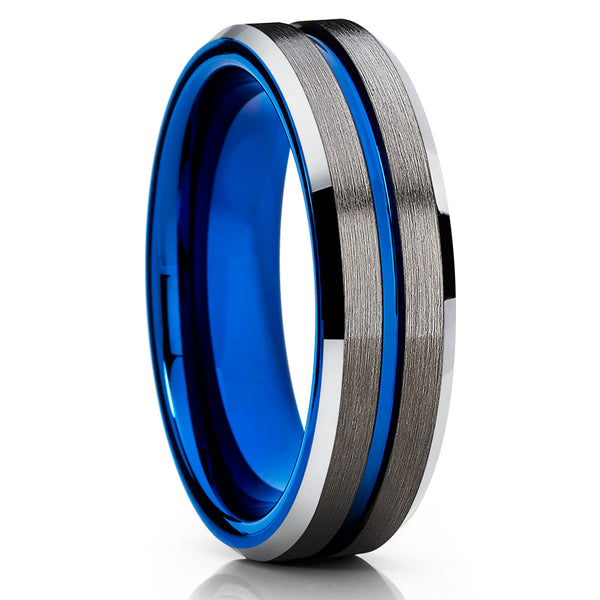 Blue Tungsten Ring - Black Tungsten - Gunmetal Wedding Band - Blue Ring - Clean Casting Jewelry
