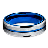 6mm - Blue Tungsten Wedding Band - Silver Brush - Blue Tungsten Ring - Clean Casting Jewelry