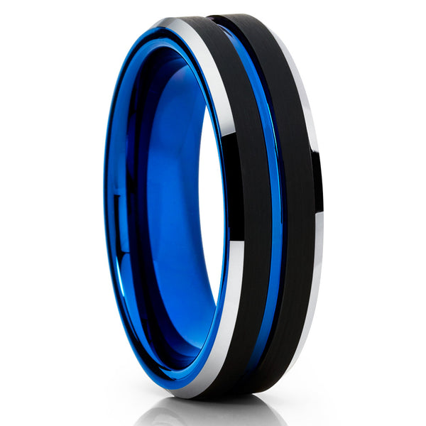 6mm,Blue Tungsten Ring,Black Tungsten Ring,Handmade,Brushed Tungsten,Black
