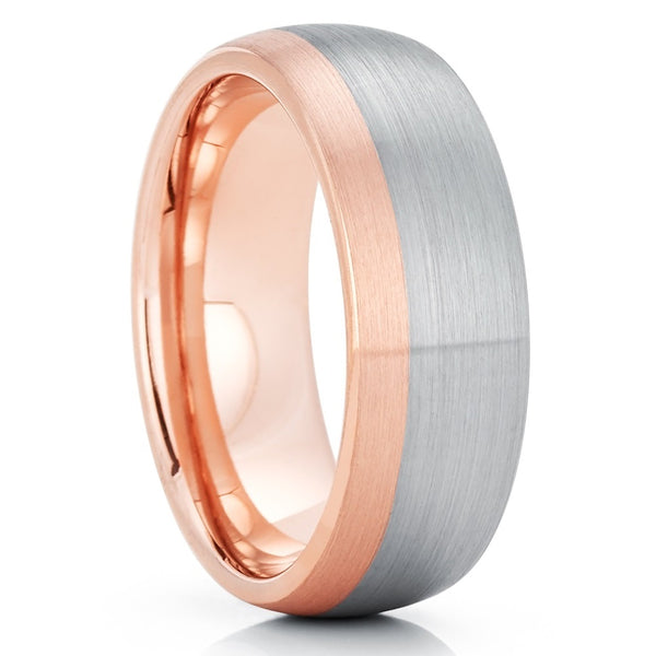 Rose Gold Tungsten Wedding Ring - Rose Gold Tungsten - Gray Tungsten Ring  - Men & Women - Comfort Fit