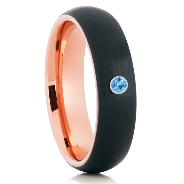 Rose Gold Tungsten Band - Aquamarine Wedding Band - Black Ring - Clean Casting Jewelry