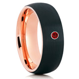 Ruby Tungsten Wedding Band - Rose Gold Tungsten - Black Tungsten Ring