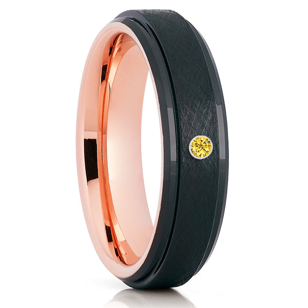 Yellow Sapphire Tungsten Ring,Rose Gold,Black Tungsten Ring,Unique Tungsten