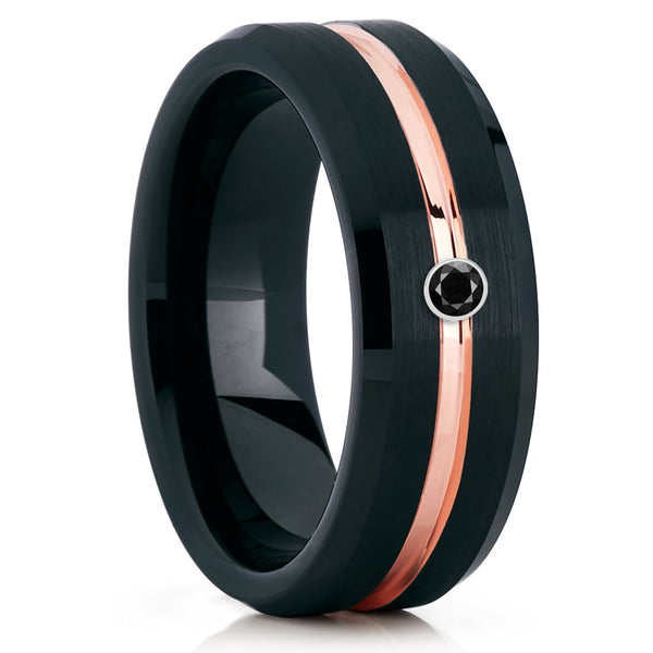Black Tungsten Ring - Black Diamond - Rose Gold - Men's Wedding Band