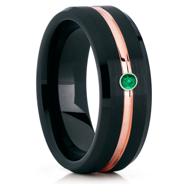Emerald Tungsten Ring - Black Tungsten Ring - Rose Gold - Tungsten Band - Clean Casting Jewelry