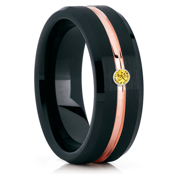 Yellow Sapphire Ring,Black Tungsten Ring,Men's Tungsten Ring,Rose Gold Tungsten