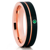 Rose Gold Tungsten - Emerald Wedding Band - 6mm Tungsten Ring - Black - Clean Casting Jewelry