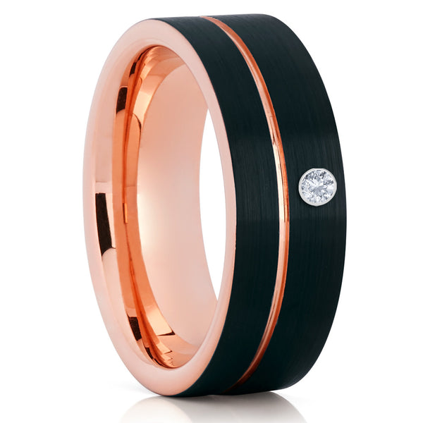 Rose Gold Tungsten Ring - White Diamond Tungsten - Black Tungsten Ring