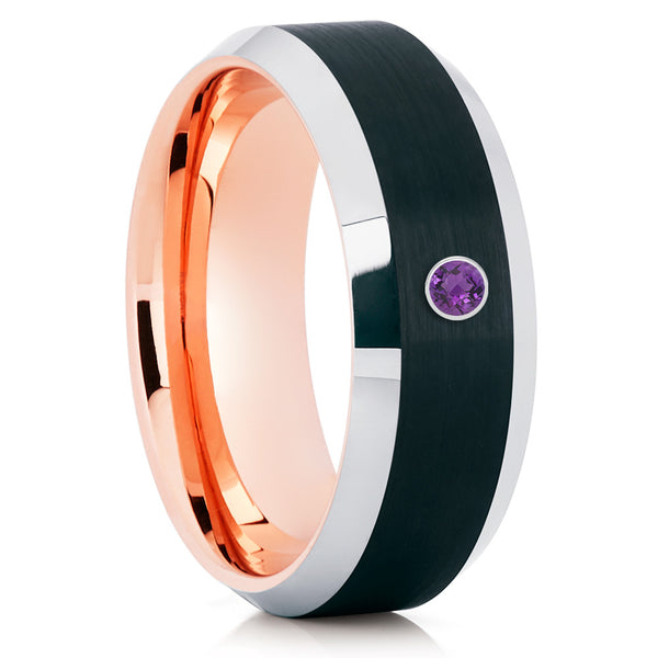 Black Tungsten Ring - Rose Gold Tungsten Band - Amethyst Tungsten Ring - Clean Casting Jewelry