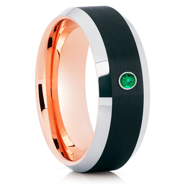 Men's Black Tungsten Ring - Rose Gold - Emerald Tungsten Ring - Brush - Clean Casting Jewelry