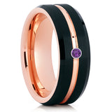 Black Tungsten Ring - Rose Gold Tungsten - Amethyst Wedding Band - Brush - Clean Casting Jewelry