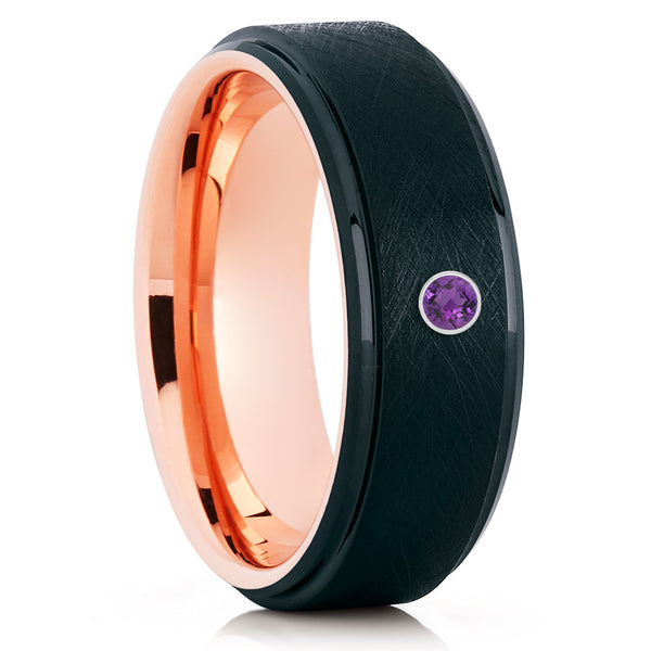 Rose Gold Tungsten - Black - Amethyst Wedding Band - Men's Wedding Ring - Clean Casting Jewelry