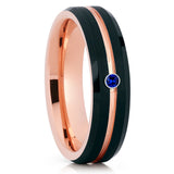 Rose Gold Tungsten,Blue Sapphire Ring,Brushed Tungsten Ring,Handmade,Brushed