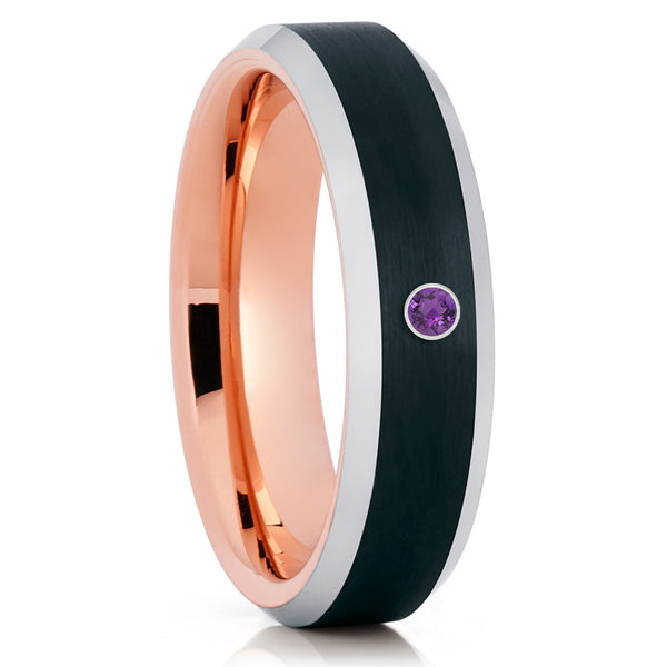 Amethyst Tungsten Ring - Rose Gold Tungsten - Tungsten Wedding Band - Clean Casting Jewelry
