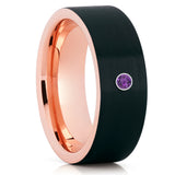 Black Tungsten Wedding Band - Rose Gold Tungsten Ring - Brush Wedding Band - Clean Casting Jewelry
