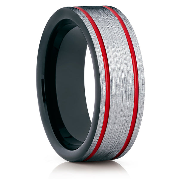 Red Tungsten Wedding Band - Black Ring - Tungsten Wedding Ring Unique - Clean Casting Jewelry