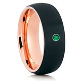 Black Tungsten Wedding Band - Men's Tungsten Ring - Emerald Tungsten Ring - Brush - Clean Casting Jewelry