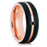 Men's Tungsten Wedding Band - Black Diamond Ring - Rose Gold Tungsten - Brush - Clean Casting Jewelry
