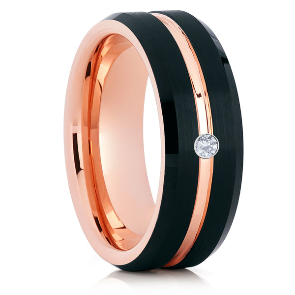 Men's Wedding Band - White Diamond Ring - Rose Gold Tungsten Ring - Brush Ring