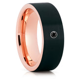 Rose Gold Tungsten Wedding Band - Black Diamond Ring - Tungsten Carbide Ring - Clean Casting Jewelry