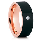 Black Wedding Band - Rose Gold Tungsten Ring - White Diamond Ring - 8mm - Brush - Clean Casting Jewelry