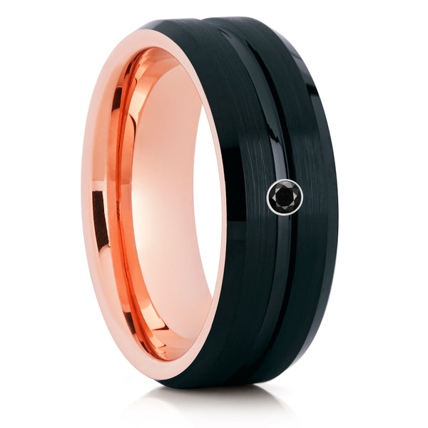 Rose Gold Tungsten Ring - Black Wedding Band - Black Diamond - Men & Women - Clean Casting Jewelry