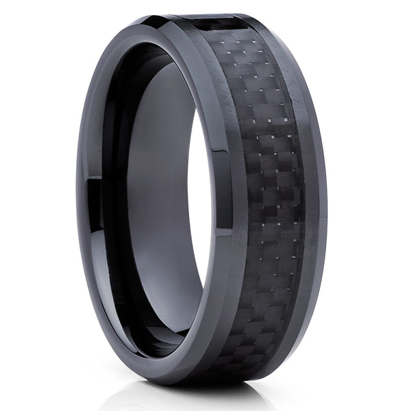 Carbon Fiber Tungsten Ring - Black Tungsten Ring - Wedding Band - 8mm - Clean Casting Jewelry