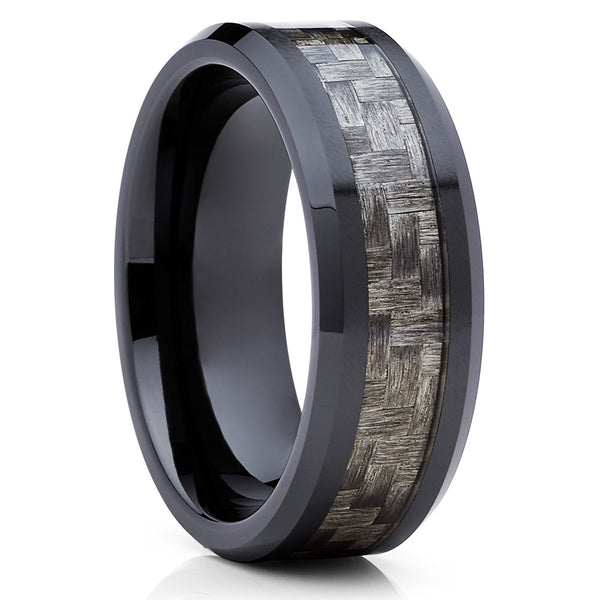 Ceramic Wedding Band - Black Ceramic Ring - Men's Wedding Band - Carbon Fiber - Clean Casting Jewelry