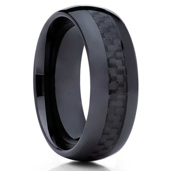 8mm,Ceramic Wedding Band,Black Ceramic Ring,Carbon Fiber Inlay,Unisex Ring