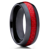Ceramic Wedding Band - Red Ceramic Ring - Black Ceramic Ring - Carbon Fiber - Clean Casting Jewelry