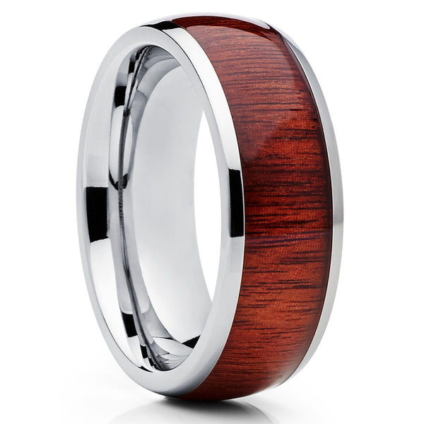 Titanium Wedding Band - Koa Ring - Titanium Wedding Ring - Koa Wood Ring