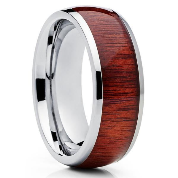 Koa Wood Tungsten Ring - Tungsten Wedding Band - 8mm Tungsten Ring - Koa Wood Ring - Clean Casting Jewelry