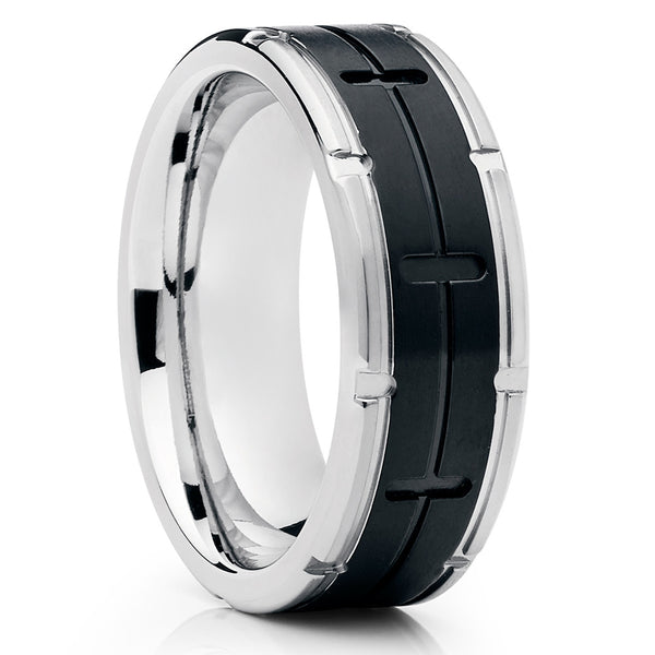 d44908108b623e Black Titanium Ring - Titanium Wedding Band - Men's Wedding Band - 8mm -  Clean Casting