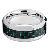 Green Tungsten Ring - Carbon Fiber Tungsten Ring - Tungsten Wedding Band - Clean Casting Jewelry