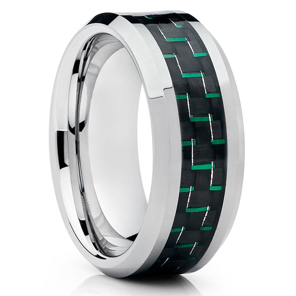 Tungsten Wedding Band - Carbon Fiber Ring - Green - Tungsten Wedding Ring - 9mm - Clean Casting Jewelry