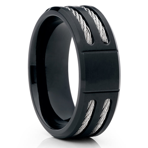 Black - Men's Wedding Band - Titanium Wedding Ring - 8mm - Matte Finish - Clean Casting Jewelry