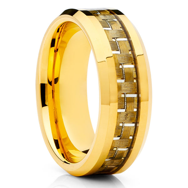 Carbon Fiber Ring - Yellow Gold Tungsten Ring - Engagement Band - Tungsten - Clean Casting Jewelry