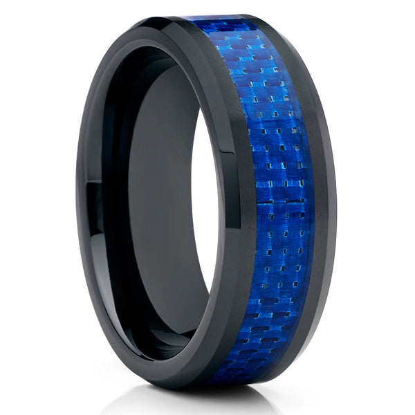 Ceramic Wedding Band - 8mm - Blue Ceramic Ring - Carbon Fiber Ring - Men's - Clean Casting Jewelry