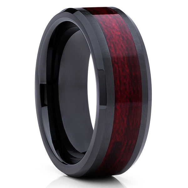Ceramic Wedding Band - Black Ceramic Ring - Burgundy Wood Inlay - 8mm - Clean Casting Jewelry
