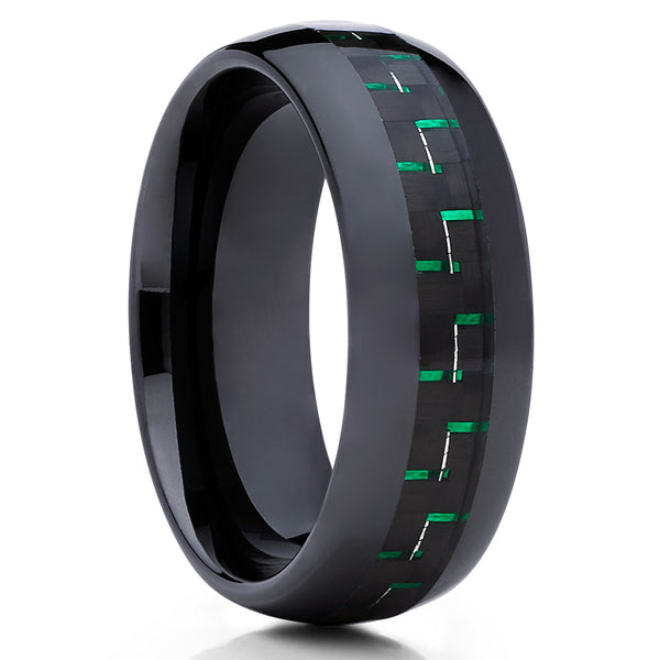 Ceramic Wedding Band,Green Ring,8mm,Black Ceramic Ring,Carbon Fiber Ring,Unique