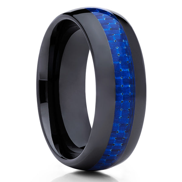 Carbon Fiber Ring - Ceramic Wedding Band - Black Ring - Blue Ceramic Ring - Clean Casting Jewelry