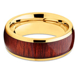 Koa Wood Titanium Ring,Yellow Gold Titanium,Men's Titanium Band,8mm Titanium