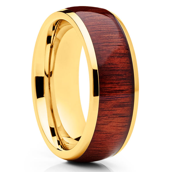 Koa Wood Ring - Titanium Wedding Band - Koa Wood Band - Engagement Ring - Clean Casting Jewelry