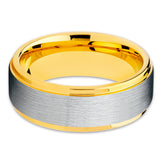 Yellow Gold Tungsten Ring - Silver Brush - Yellow Gold Wedding Band - Tungsten - Clean Casting Jewelry