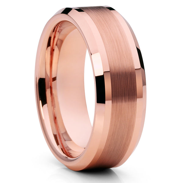 Men's Rose Gold Tungsten Ring,8mm Tungsten Band,Brushed Rose Gold Tungsten