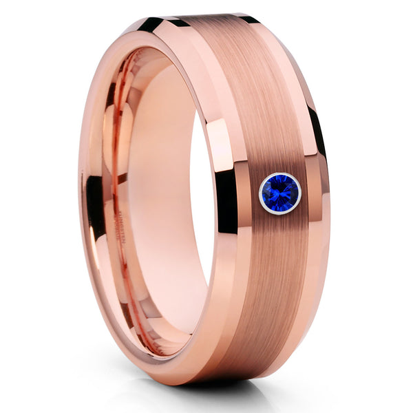 Rose Gold Tungsten - Blue Sapphire - Rose Gold Wedding Band - 8mm - Clean Casting Jewelry