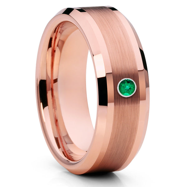 Rose Gold Tungsten Ring - Emerald Tungsten Ring - Rose Gold Tungsten - Clean Casting Jewelry