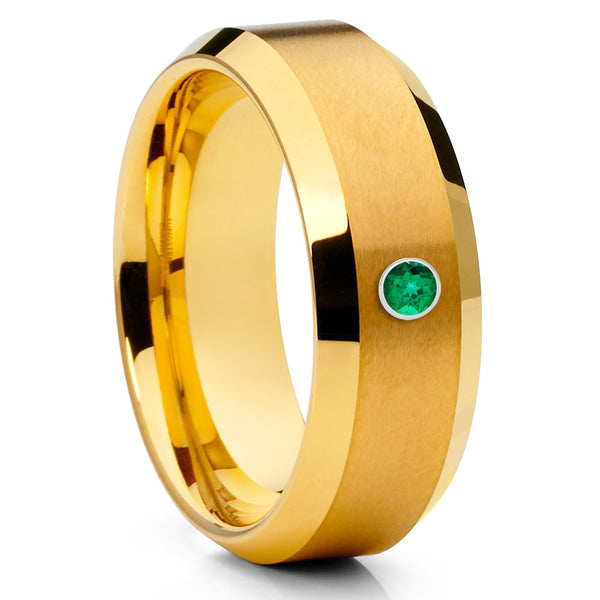 8mm - Yellow Gold Tungsten Ring - Emerald Wedding Band - Handmade - Band - Clean Casting Jewelry