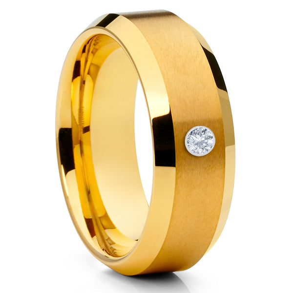 Yellow Gold Tungsten Band - White Diamond Ring - Tungsten Wedding Ring - Clean Casting Jewelry