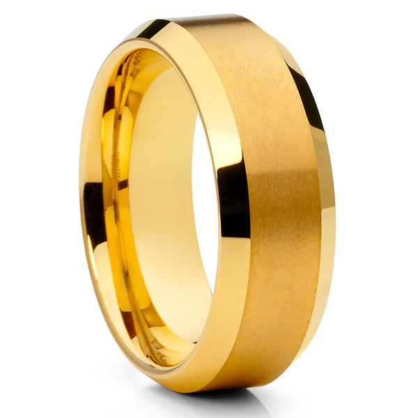 Men's Wedding Band - Yellow Gold Tungsten Ring - Yellow Gold Tungsten - Clean Casting Jewelry